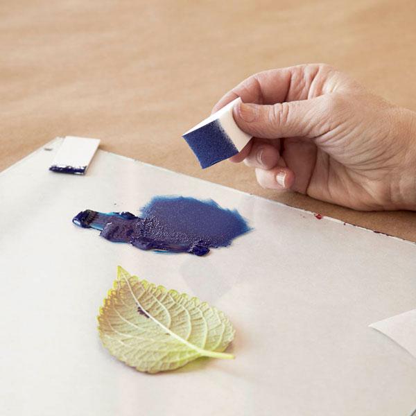 مرحله دوم چاپ دستی با برگ، چاپ برگ، چاپ برگ در خانه