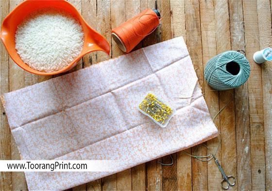 Rice, Scissors, Thread, Rice bag
