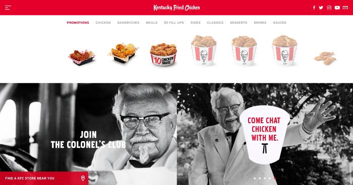 استفاده از رنگ در کی اف سی KFC